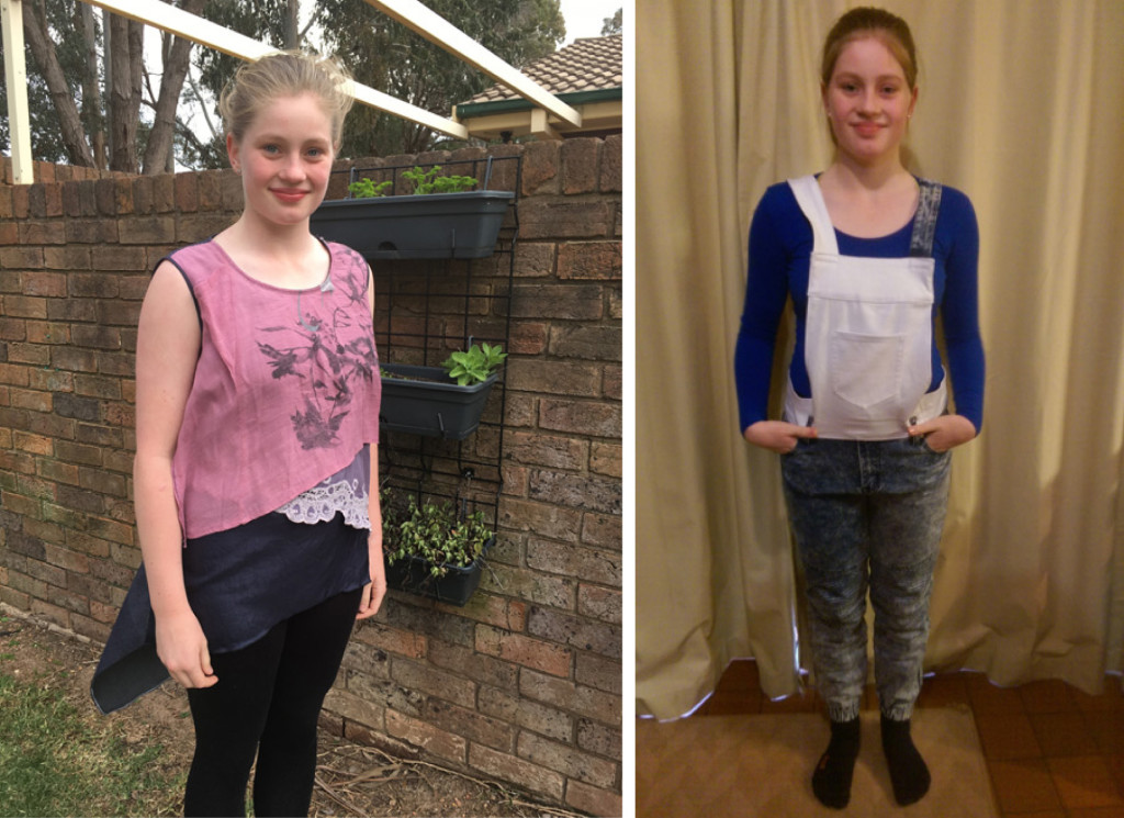Grace wears garments upcycled by herself and Mum Michelle for The Slow Clothing Project