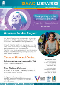 ISAAC LIBRARIES_Clermont Queensland Womens Week_Slow Clothing Workshops web