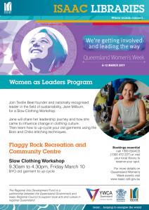 ISAAC LIBRARIES_Flaggy Rock_Queensland Womens Week_Slow Clothing Workshops web