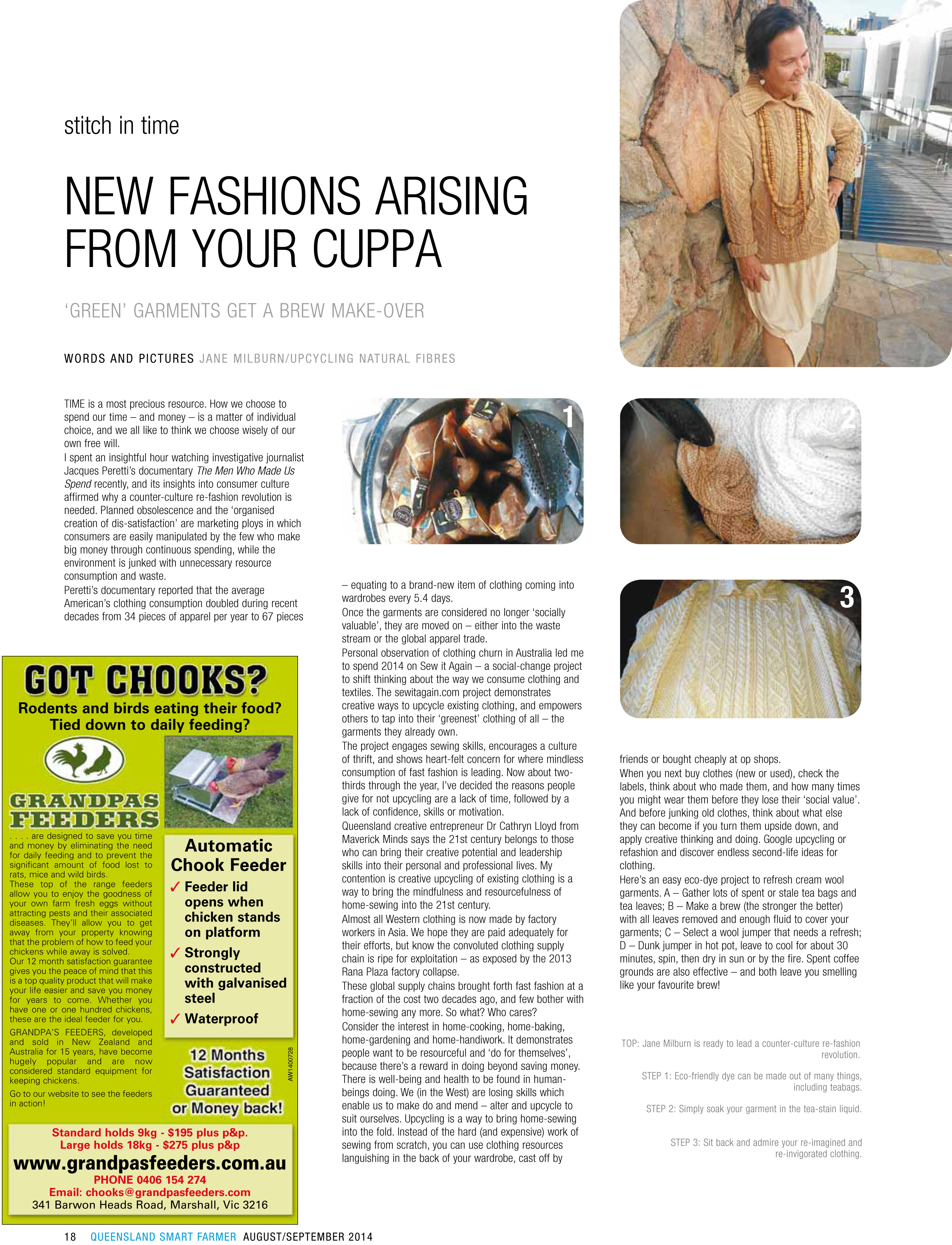 Stitch in Time column by Jane Milburn, Smart Farmer magazine August 2014