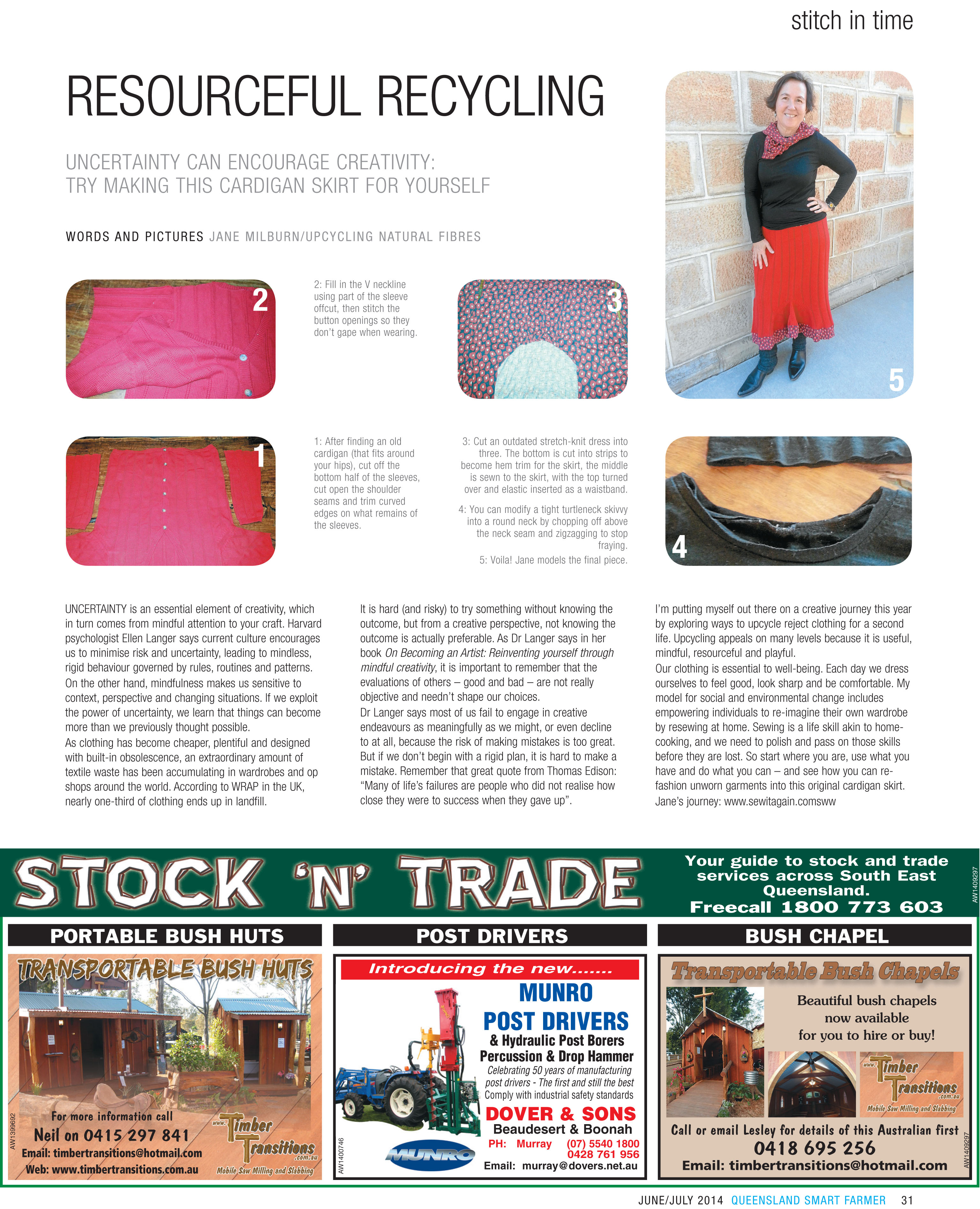 Stitch in Time column by Jane Milburn, Smart Farmer June 2014
