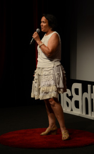 Jane Milburn wears upcycled