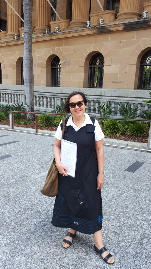 Jane Milburn outside Brisbane City Hall