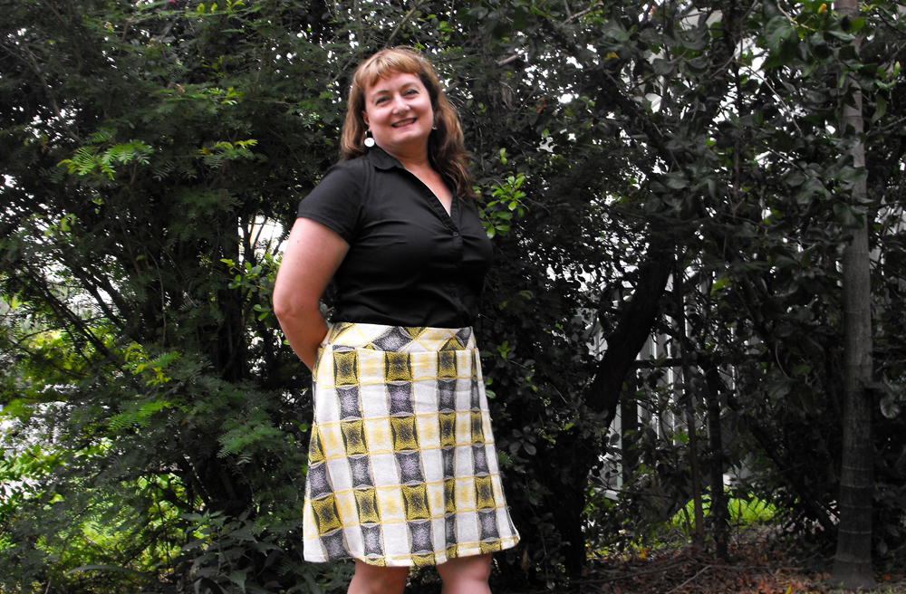 Maker Neroli Roocke wears a skirt she created from vintage curtains