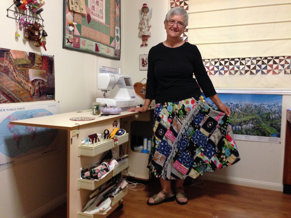 Majella Albion wears the upcycled skirt she made for The Slow Clothing Project.