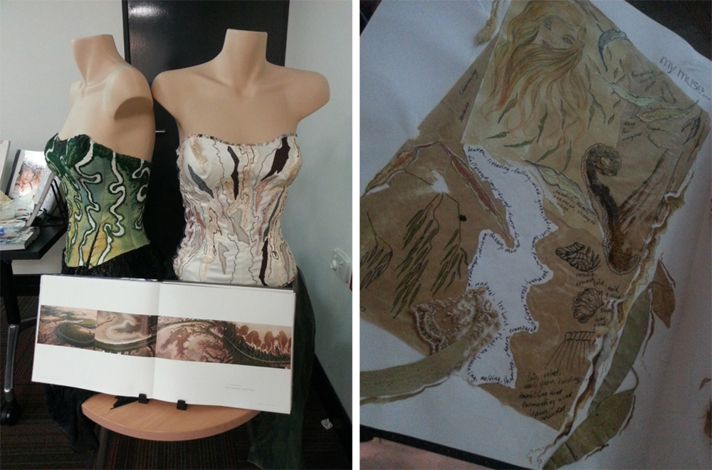 Miriam Gillham's beautiful hard-crafted corsets on display in the local library last year