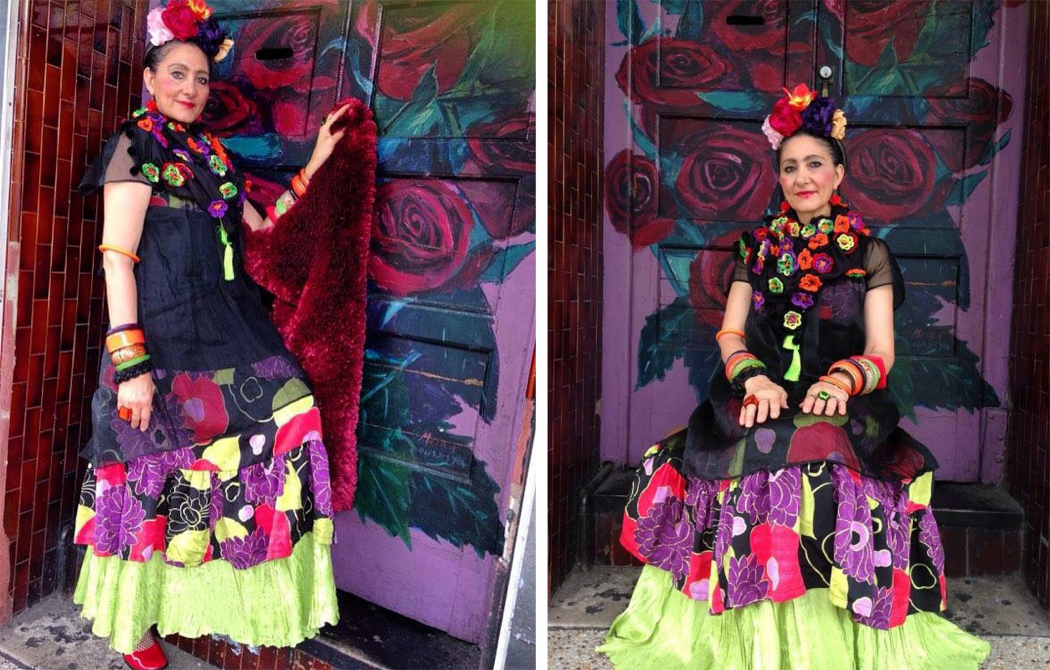 Elizabeth Kingston wears her Frida Kahlo-inspired ensemble handmade and styled from existing resources