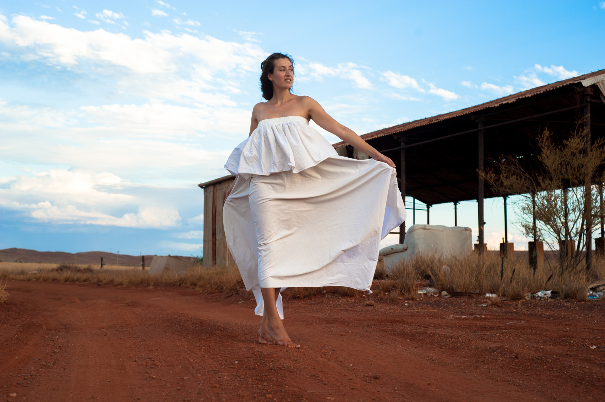 Emma Williamson wears the dress she made from a sheet for The Slow Clothing Project