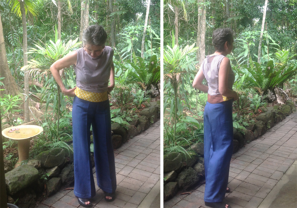 Frances Leske used fabric gifted from her mother to create wide-leg pants and a top for The Slow Clothing Project.
