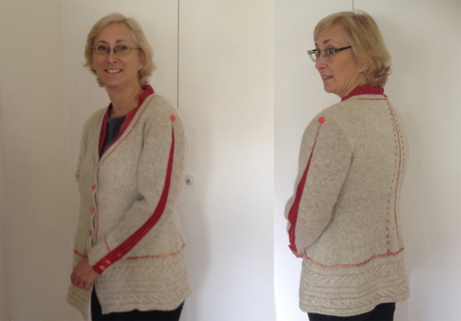 Tamara Russell made a signature wool cardigan from rescued materials for The Slow Clothing Project.