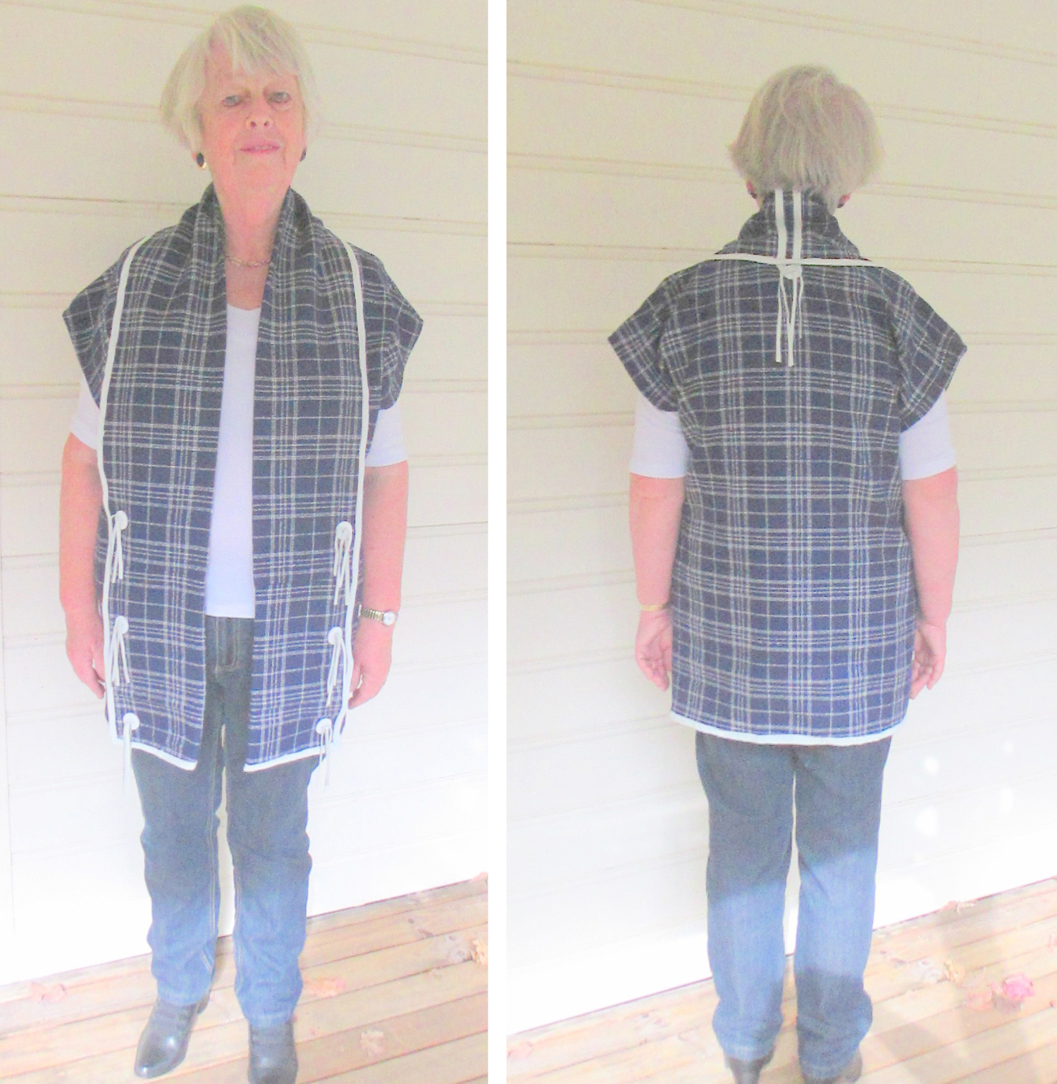 Barbara Sherlock upcycled a wool skirt into a sleeveless vest for The Slow Clothing Project.