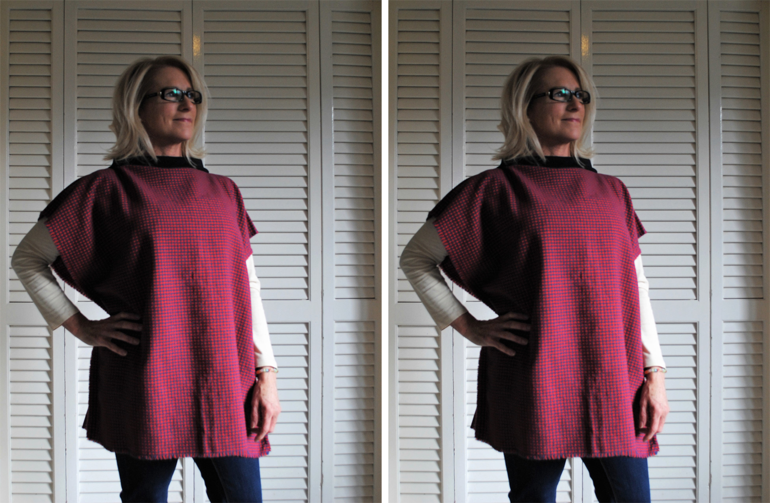 Sally Harris wears a wool poncho she made from a knee rug for The Slow Clothing Project.