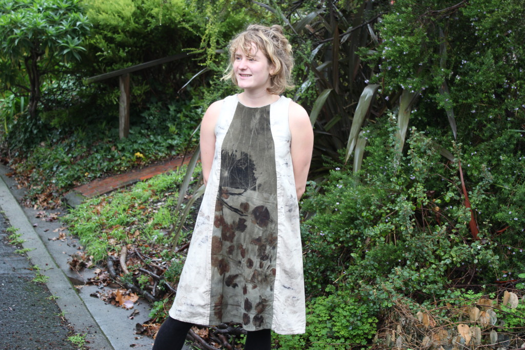Nina models a garment she sewed using eco-print fabric pieces