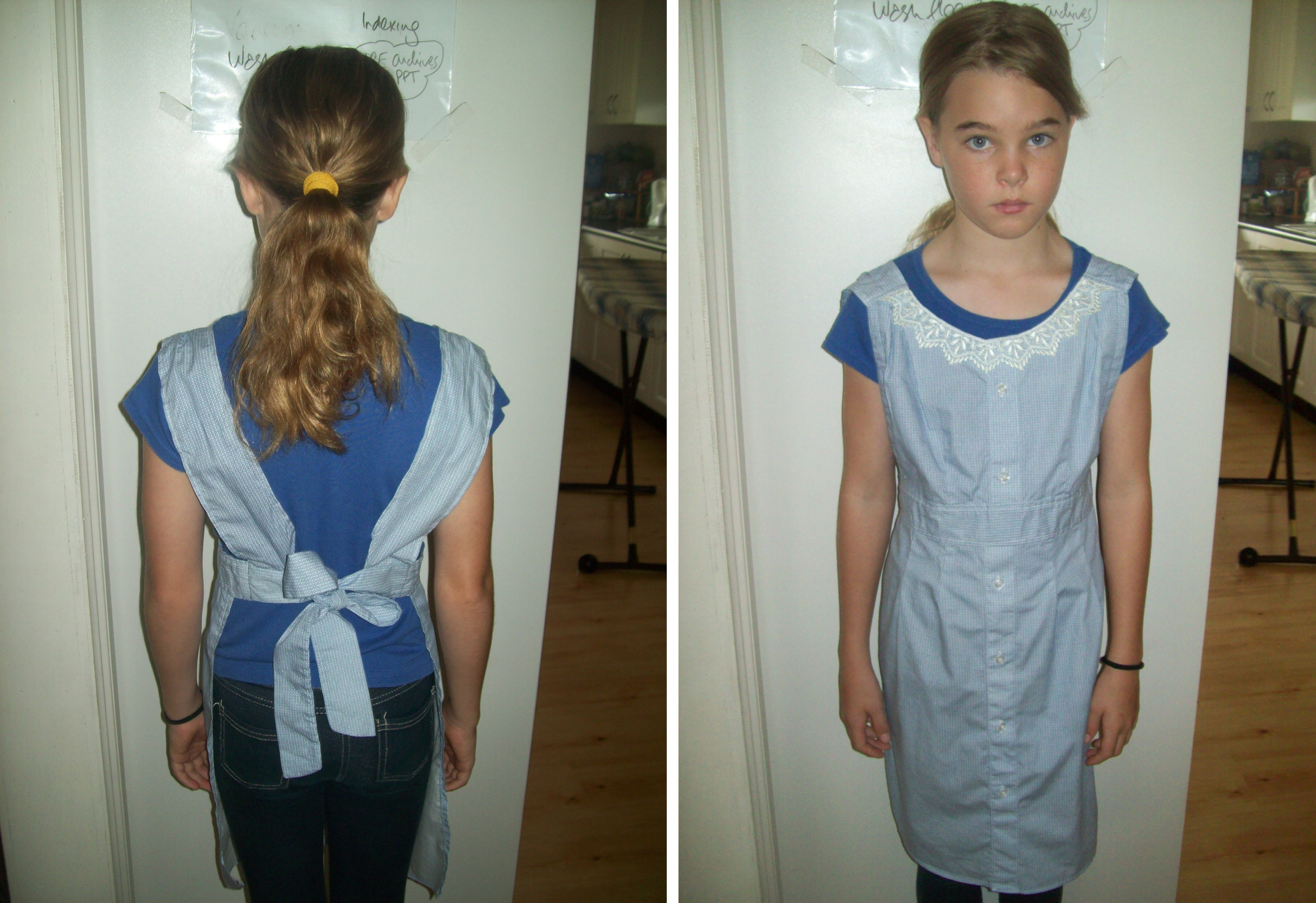 Erin Thomson wears an apron made by her mum Saadia from a rescued business shirt for The Slow Clothing Project