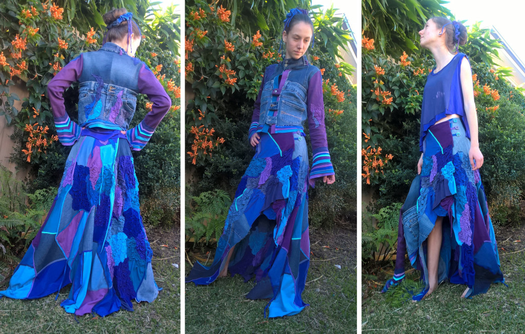Jasmine wears an upcycled couture creation made by her mother Cathy Stuart for The Slow Clothing Project