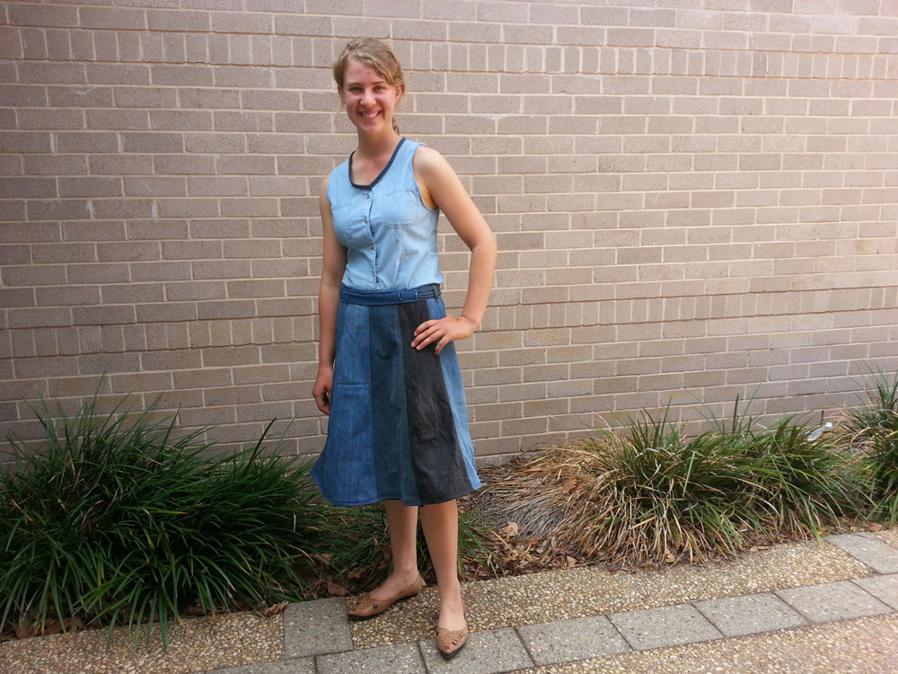 Eliza Kelly from Parkes NSW wears her upcycled denim skirt for The Slow Clothing Project