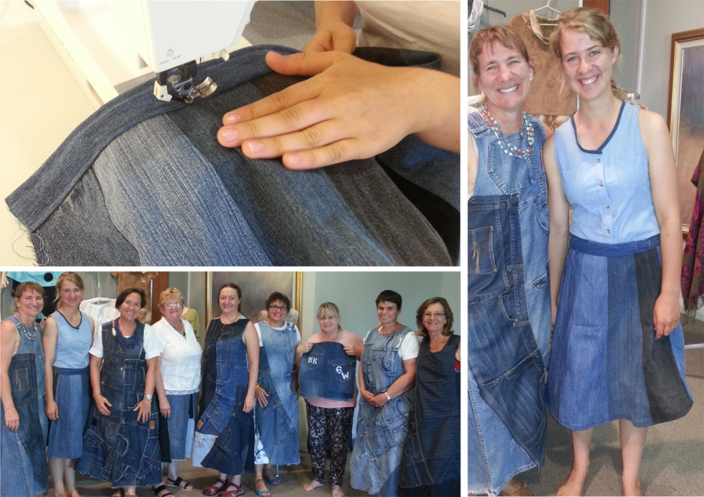 Jen and Eliza Kelly, above left, among other denim upcyclers at the Parkes workshop earlier this year