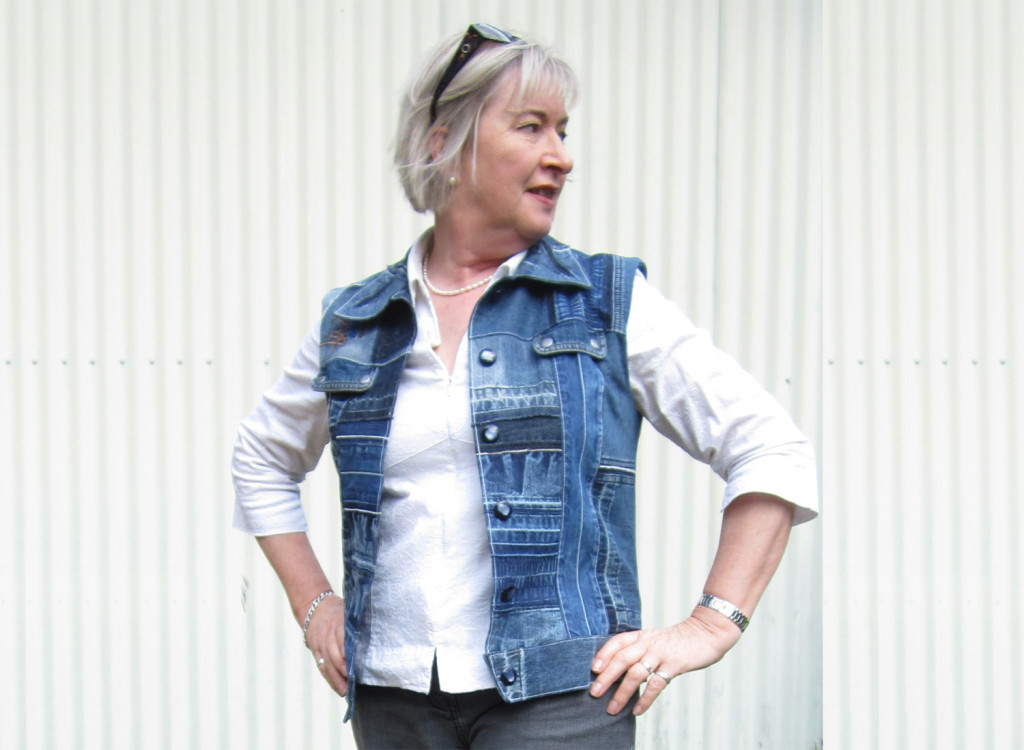 Julie Livingstone wears a vest she recreated from op-shop-found denim for The Slow Clothing Project.