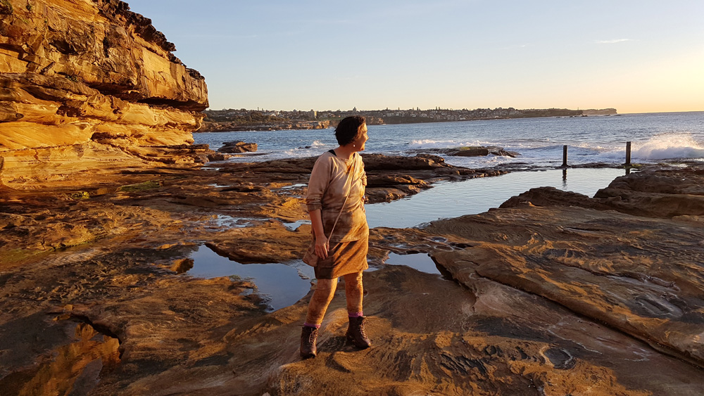 Textile Beat founder Jane Milburn clothed in wool garments given a second life using eco-dye. Photo by Ele Cook