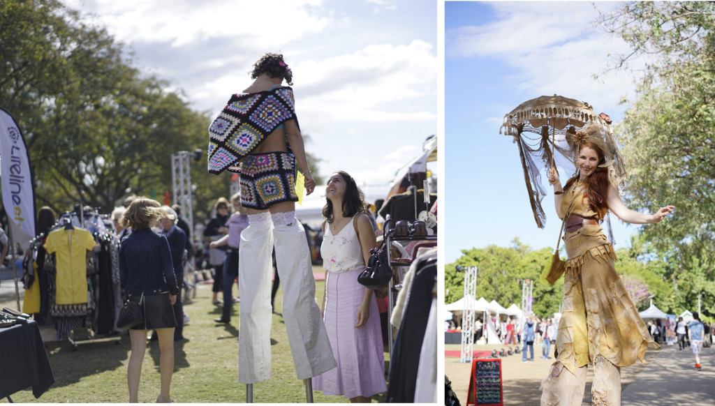 Stiltwalkers in Textile Beat refashion at Revive 2016, photos by Brisbane City Council