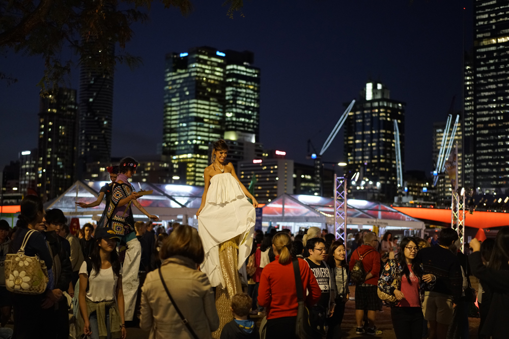 Stiltwalkers showcase refashion at the 2016 Revive event in the heart of Brisbane. Photo by Brisbane City Council